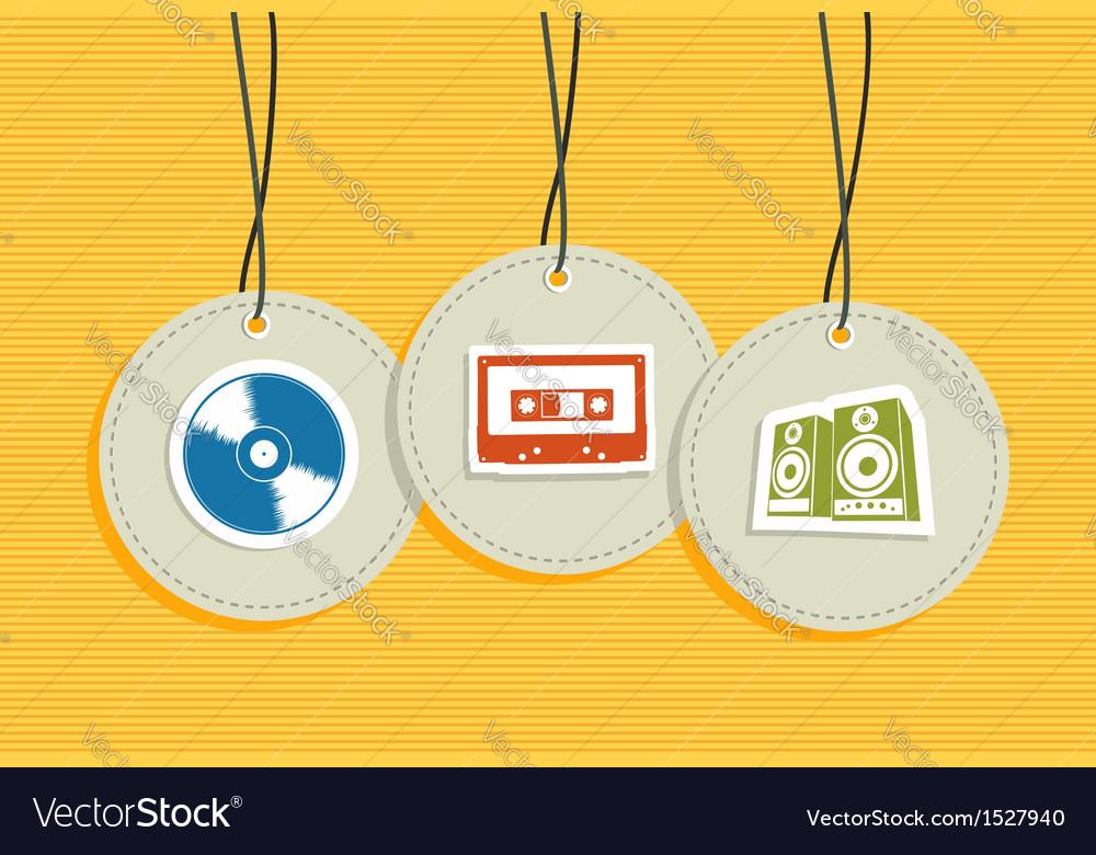 Hanging Vintage Music badges