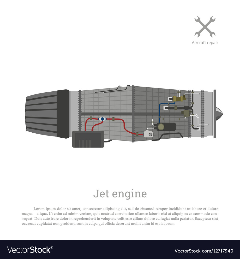Jet engine in a flat style Part of the aircraft