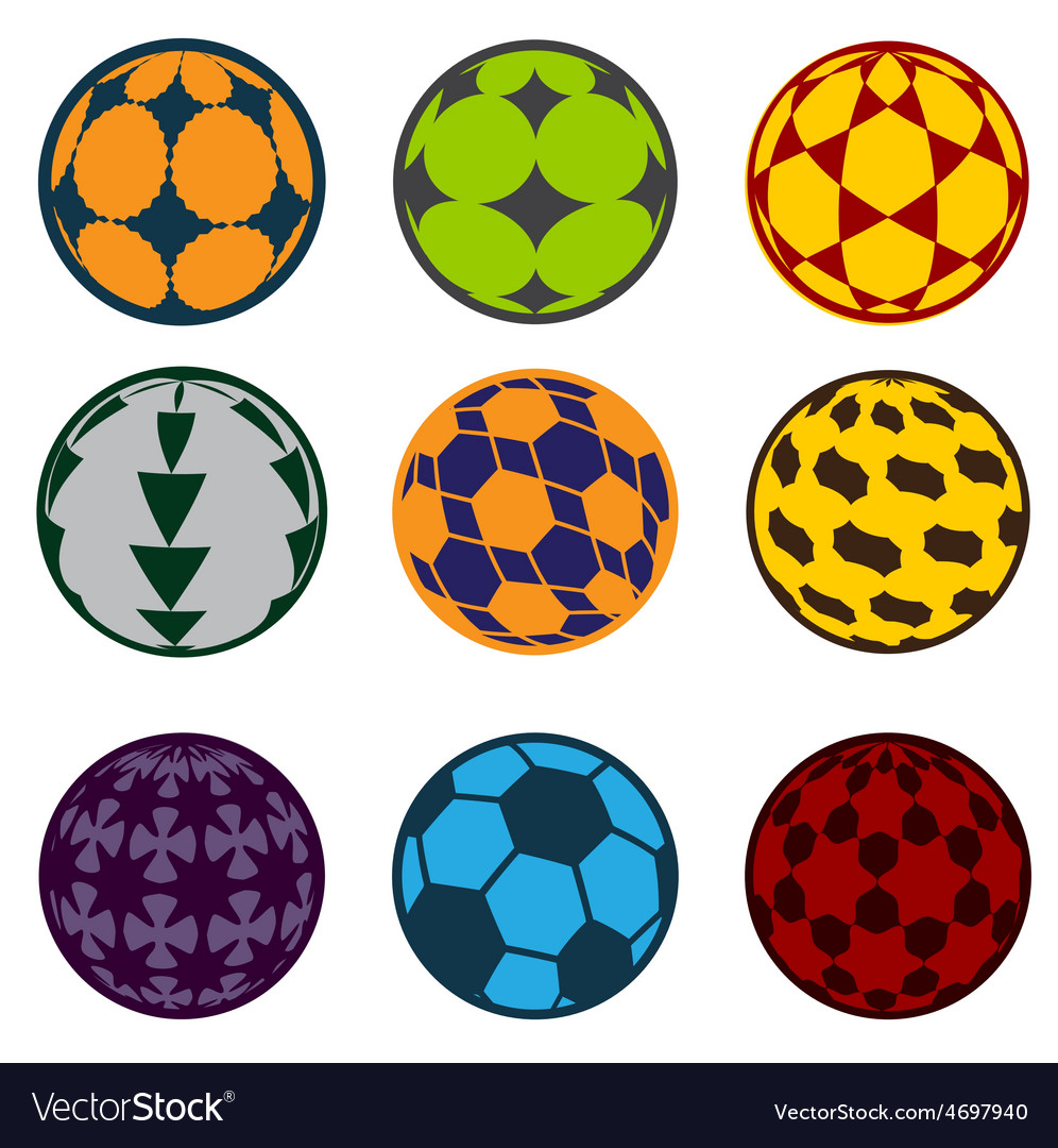 Set football and soccer balls