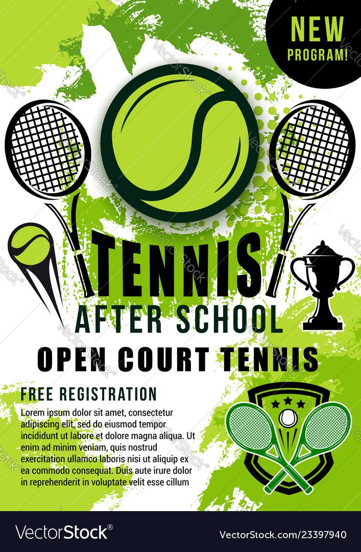 Tennis balls rackets and trophy cup sport school