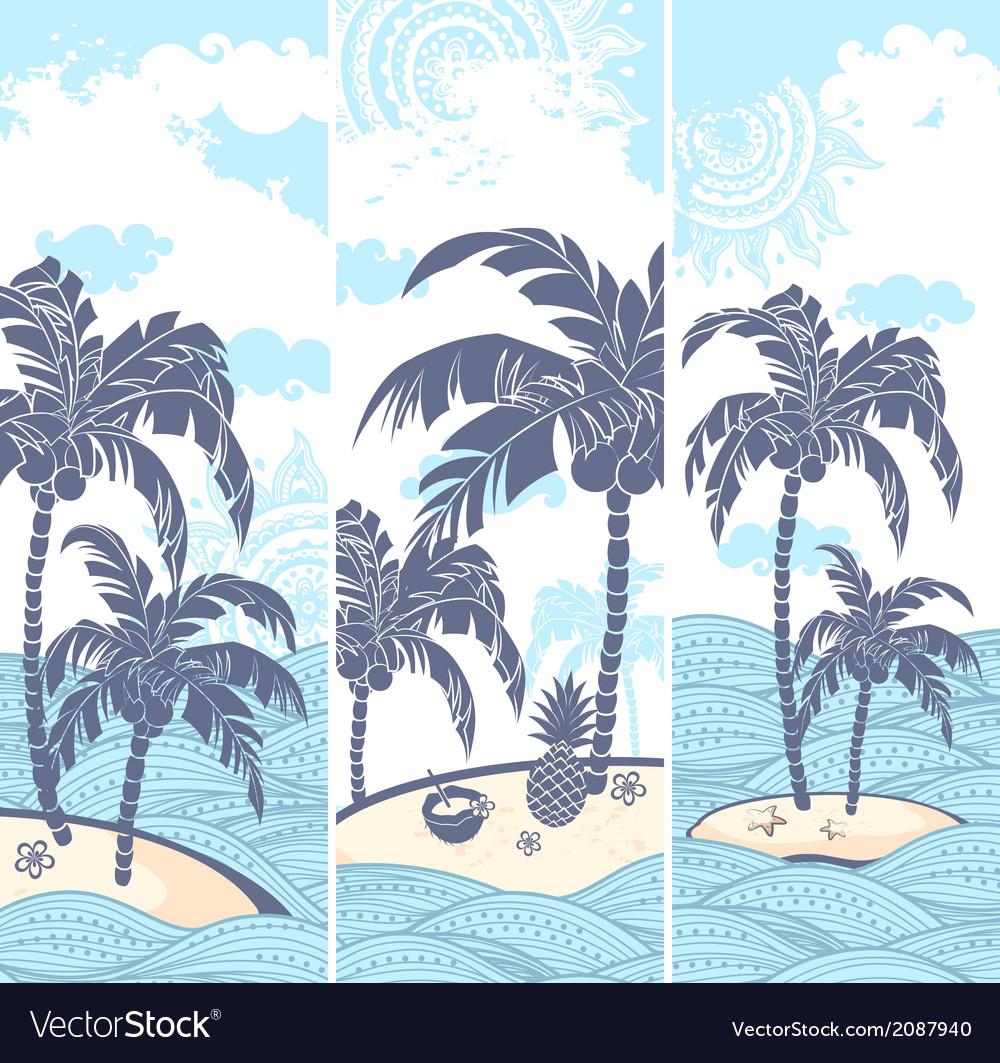 Vintage banners island in ocean