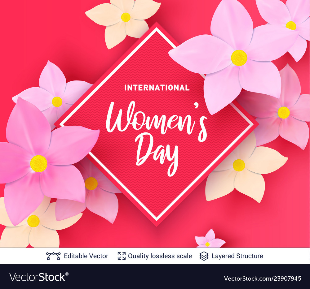 8 of march women day card or banner template