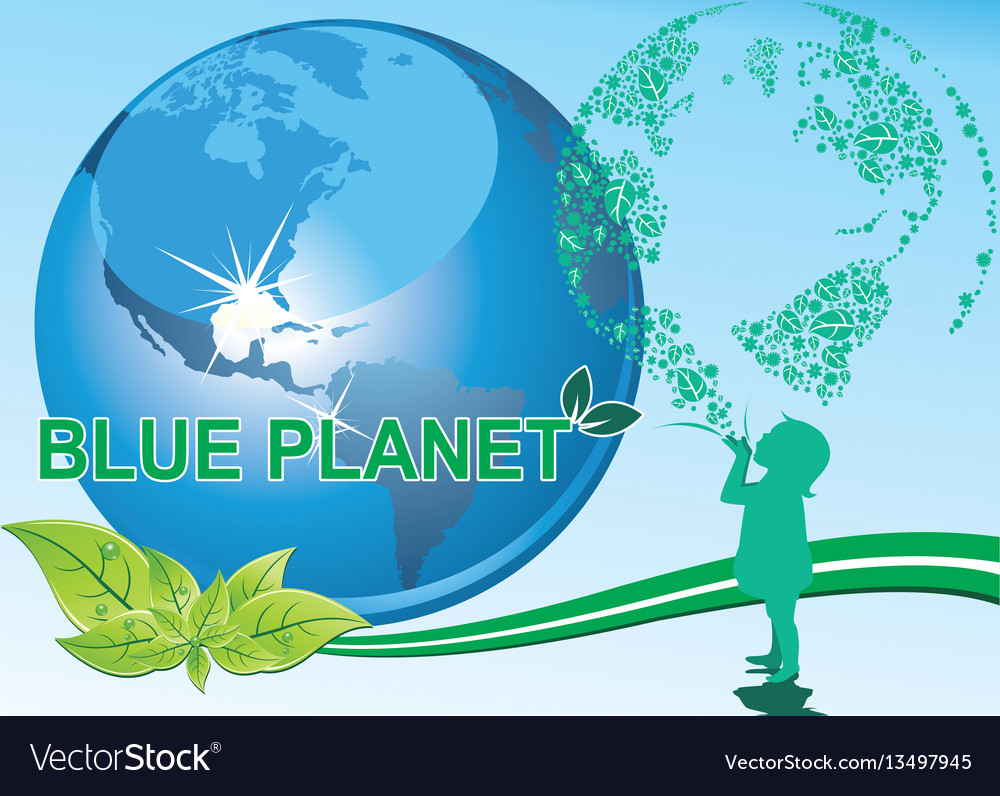 Background - a girl and a blue planet