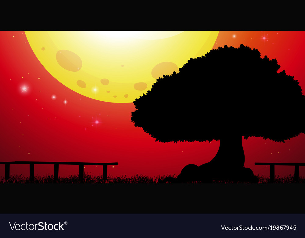Background scene with big tree and red sky