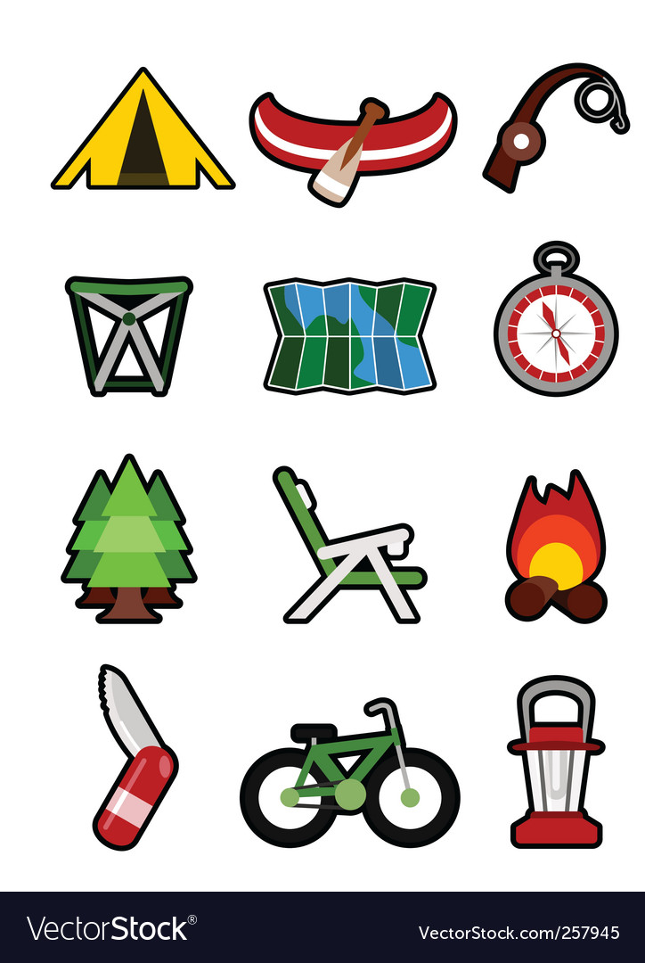 Free Vector Buttons on Camping Icons Vector 257945   By Rocket400