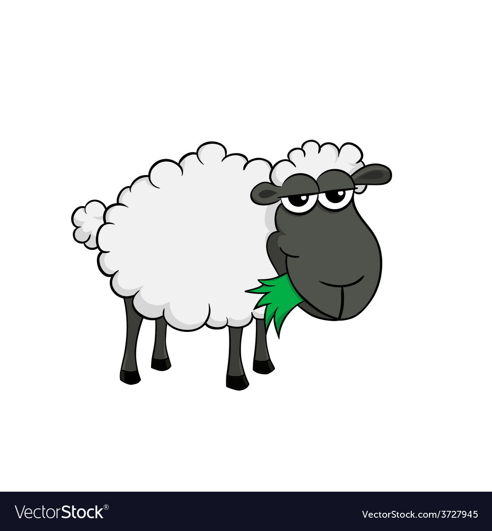 Cartoon of a cute sheep eating grass