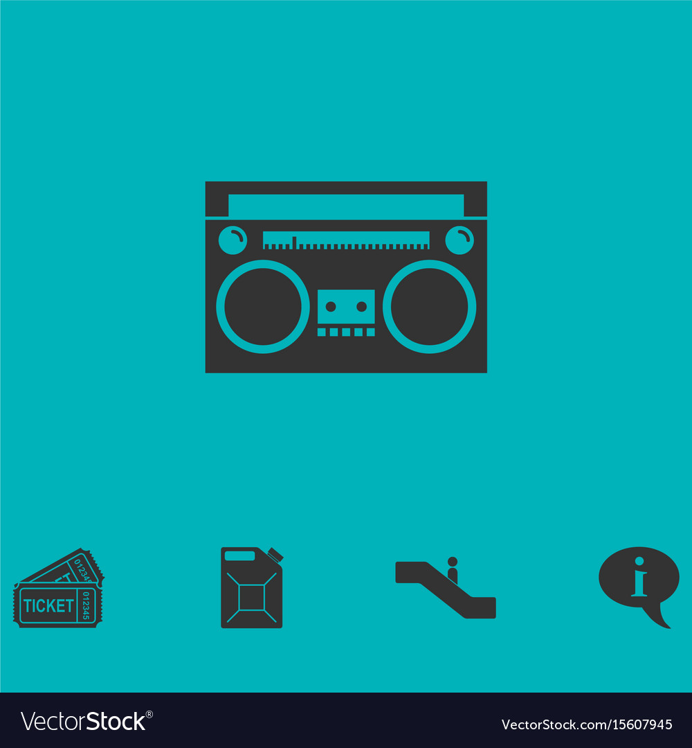 Cassette player icon flat