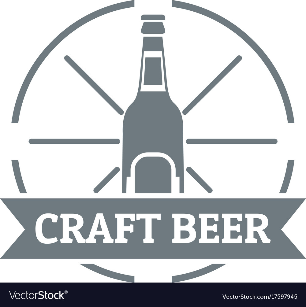 Craft beer logo simple gray style vector image