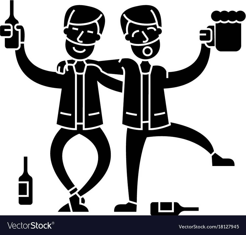 Drunk people two men drinking icon