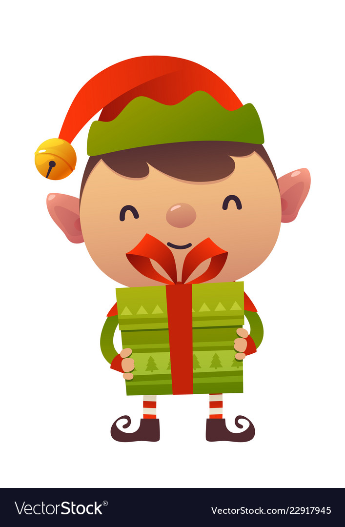 Happy cute cartoon christmas elf with gift