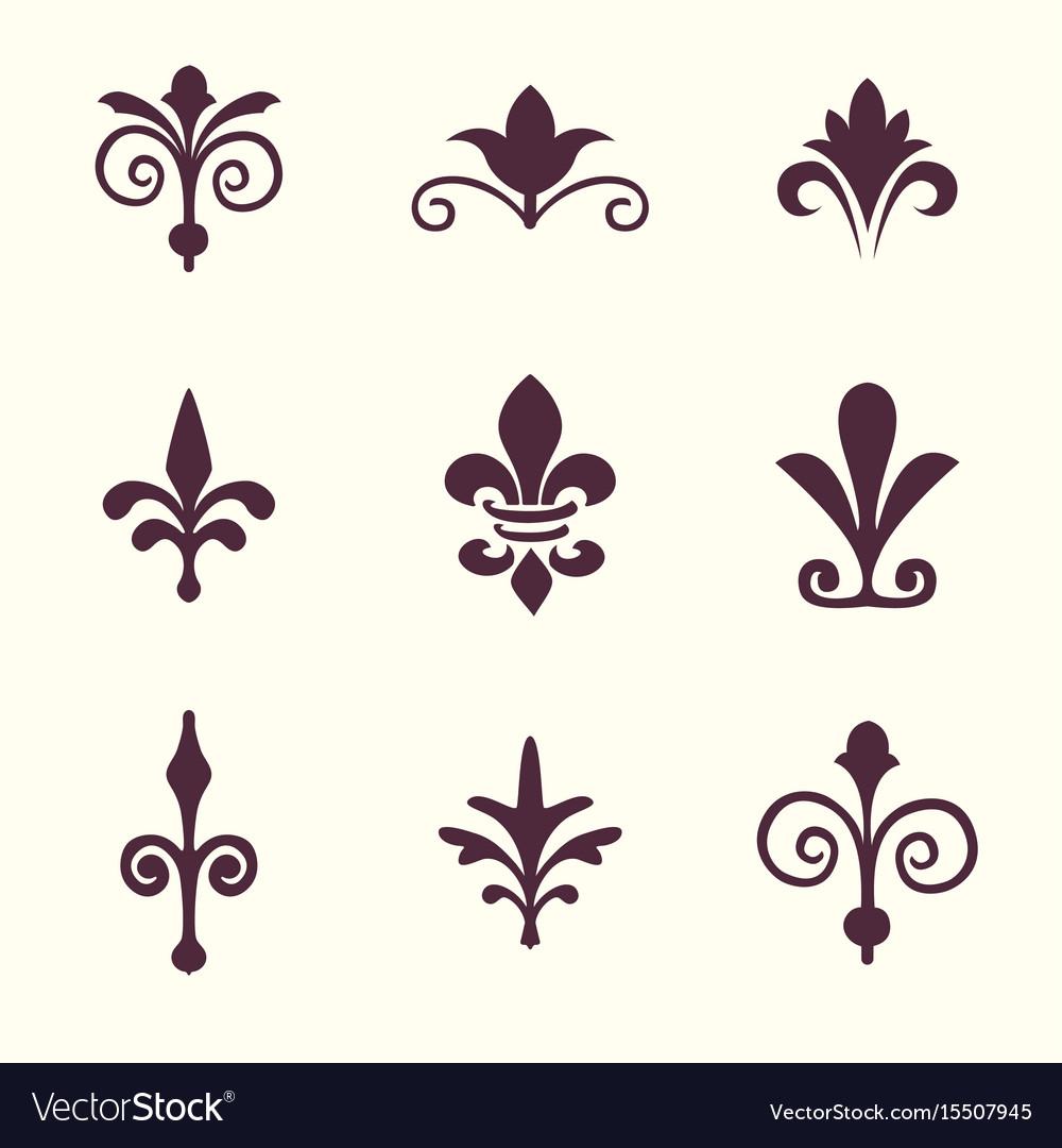 Heraldic Symbols Fleur De Lis Set Royalty Free Vector Image