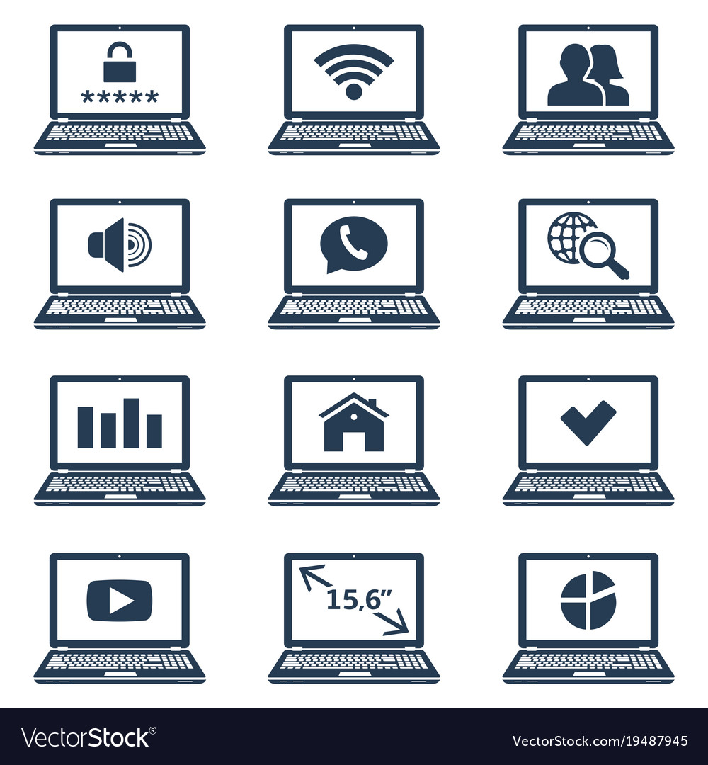Laptop Icons With Signs And Symbols On Screen Vector Image
