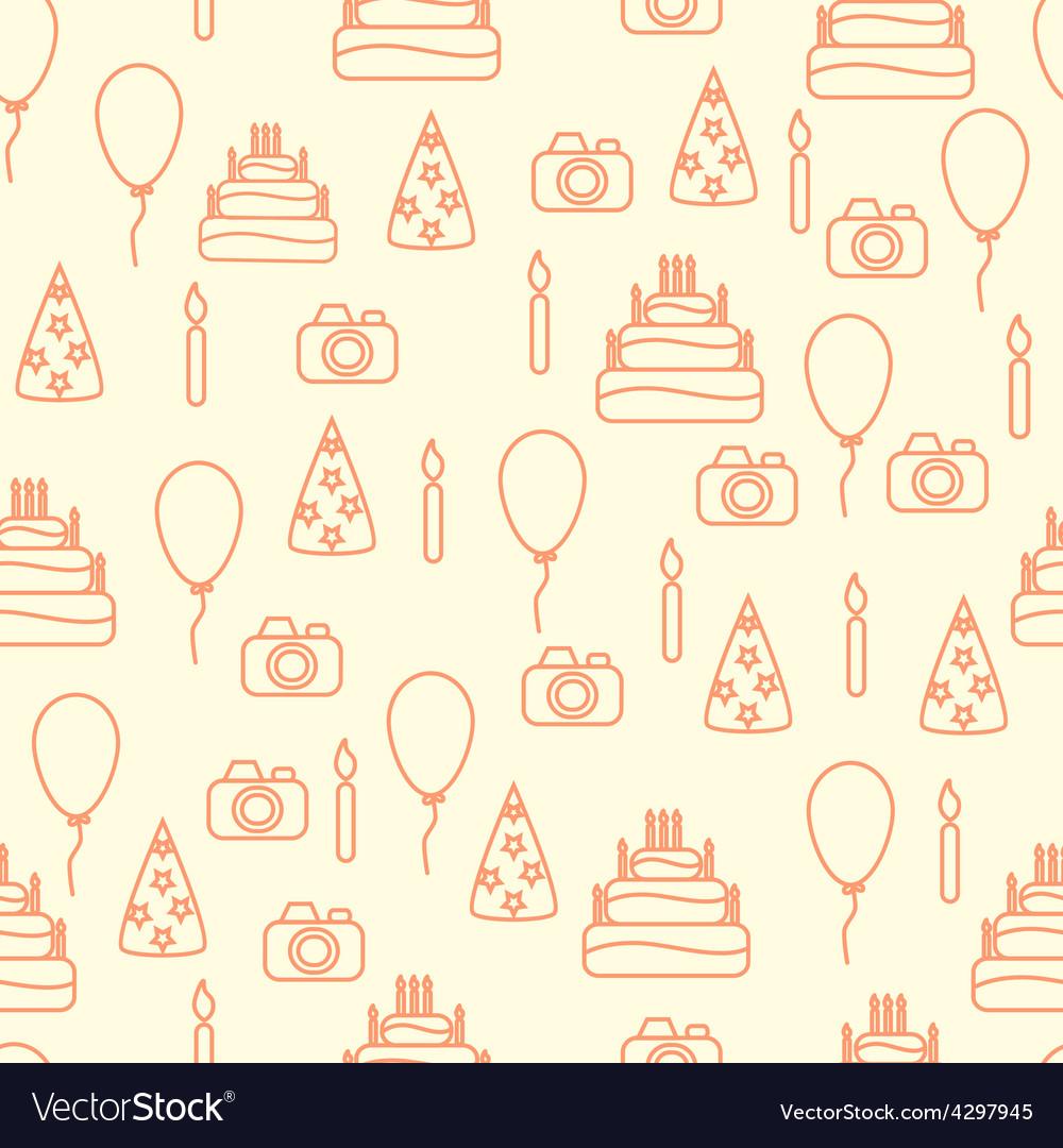 Line art style happy birthday seamless