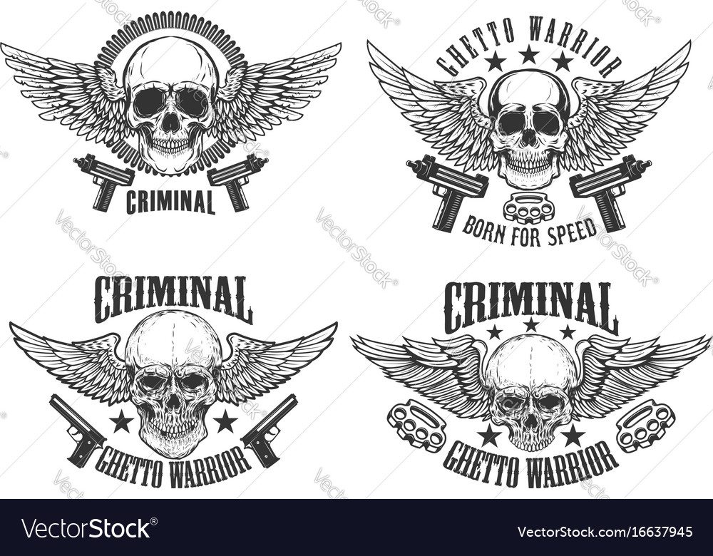 Outlaw street warriors set of winged skulls with