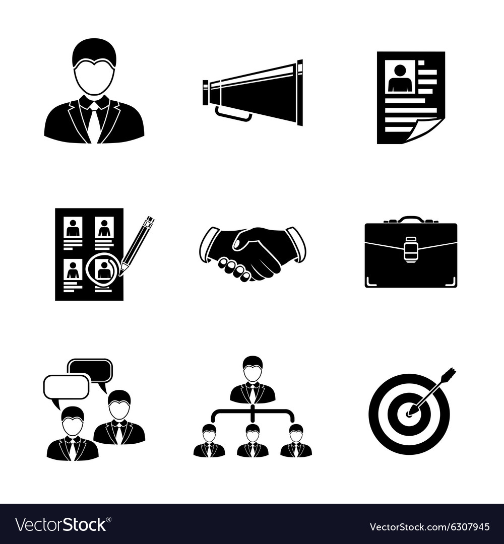 set of head hunter icons handshake resume vector image