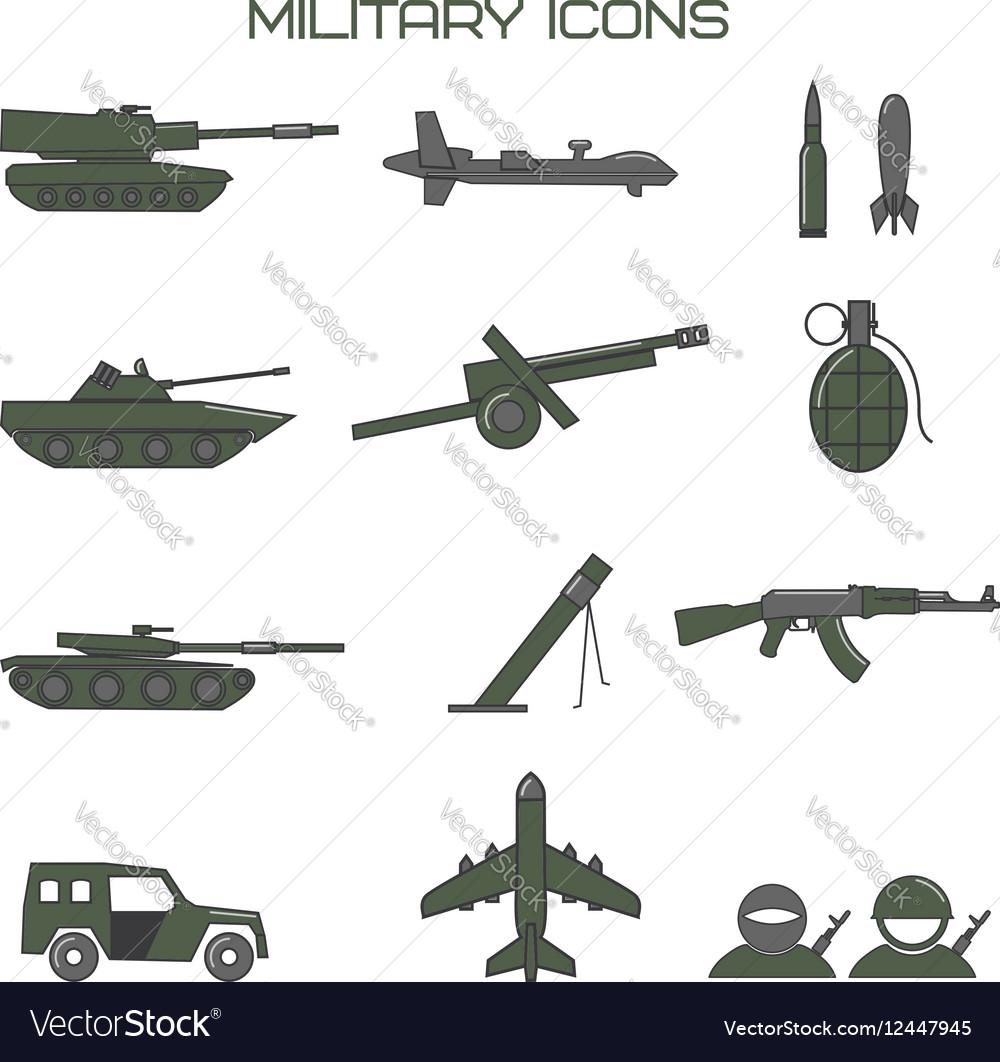Set of military icons tank fighting machine