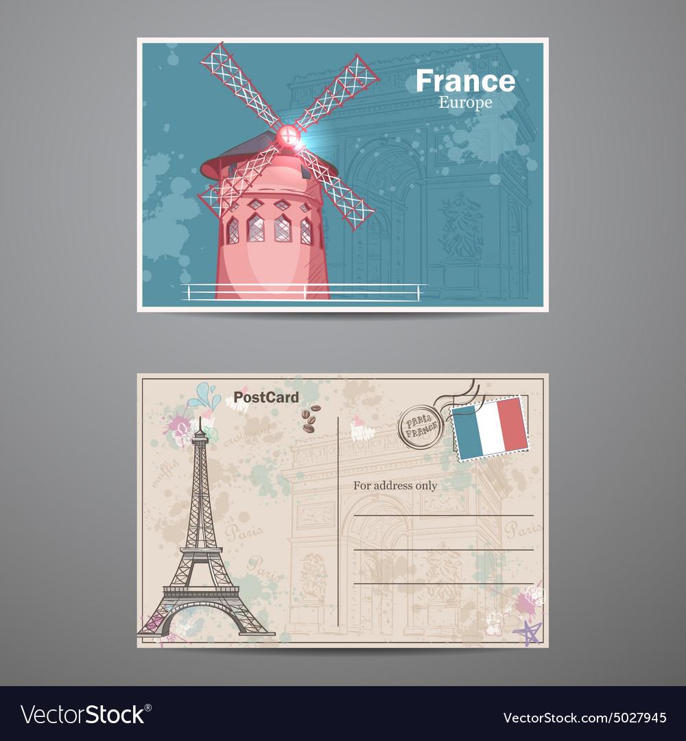 Set two sides a postcard on theme paris