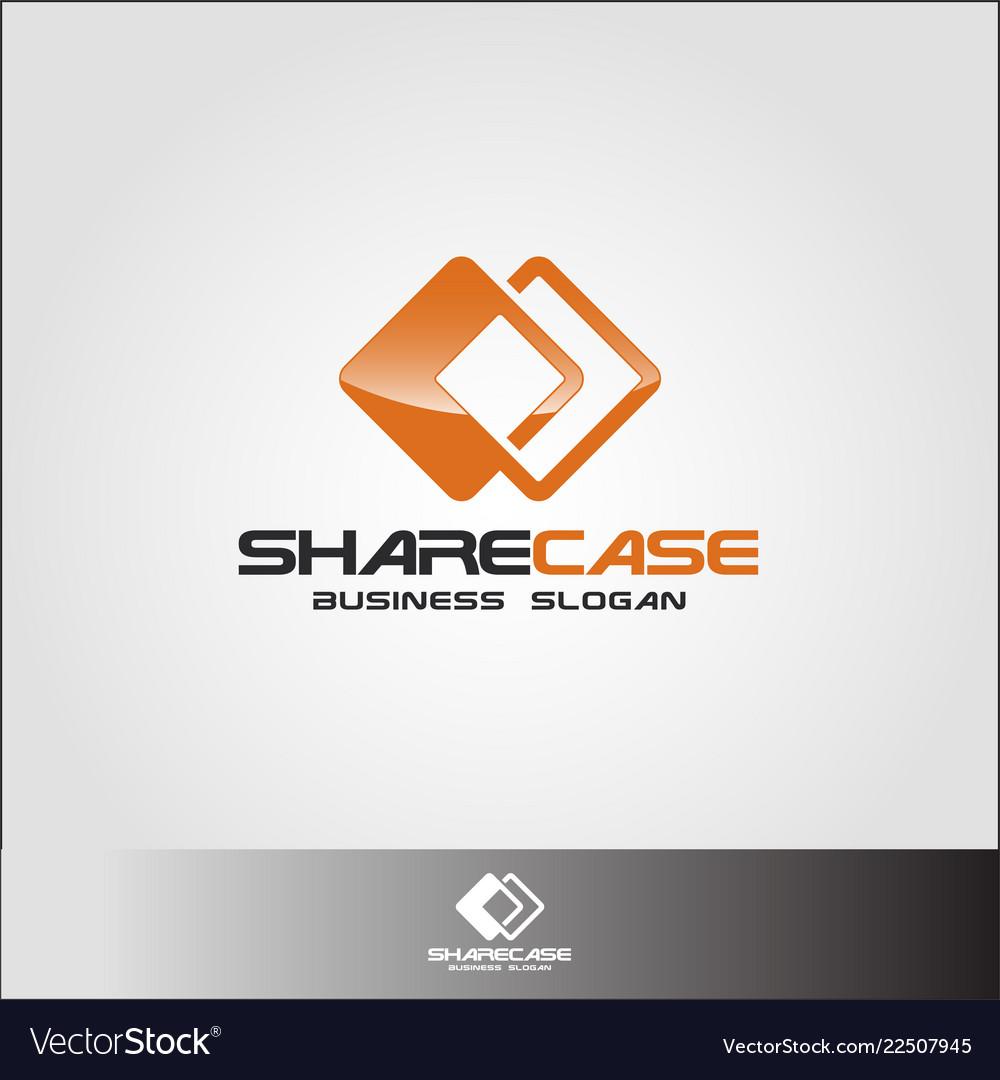 Share case - sharing box or sharing square logo