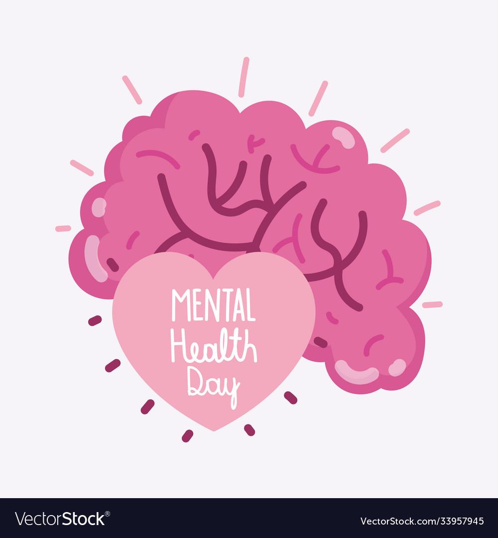 World mental health day text inside human