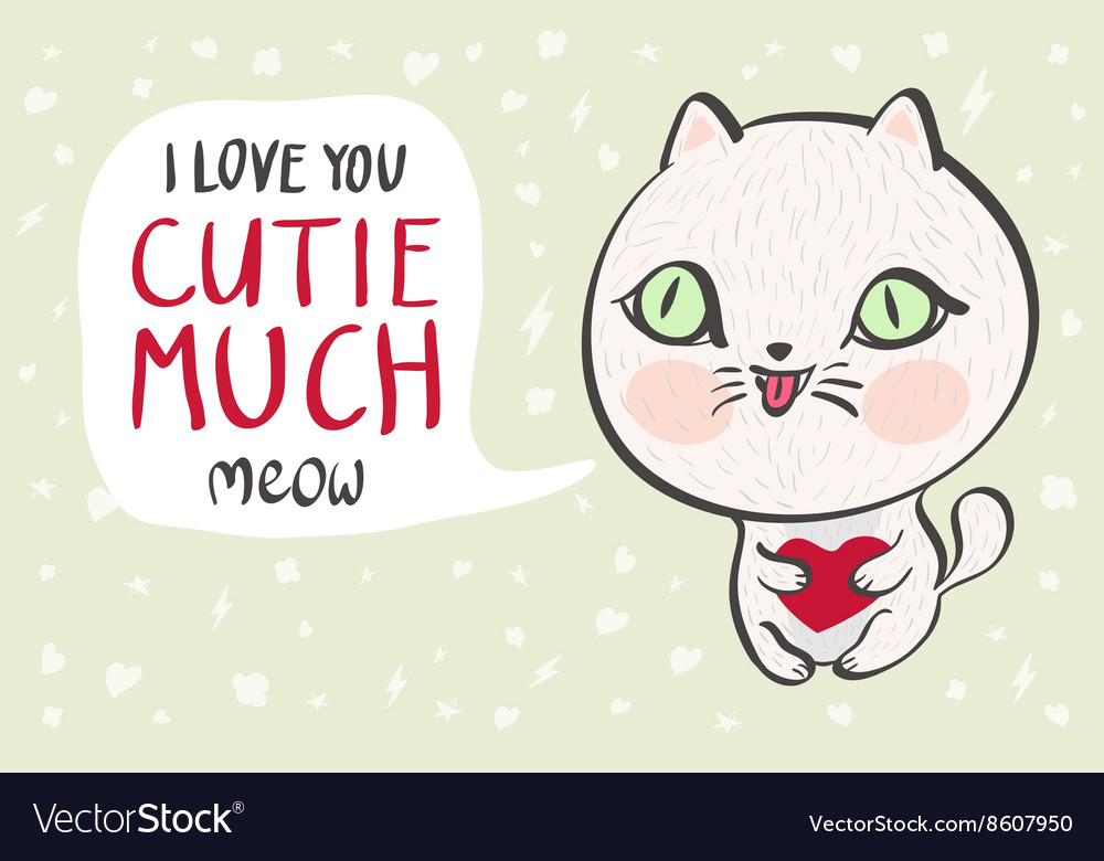A cute white cat with a heart is saying I love you