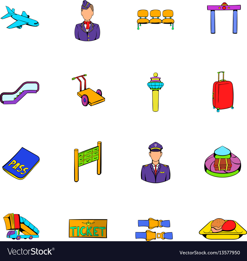 Airport set icons set cartoon