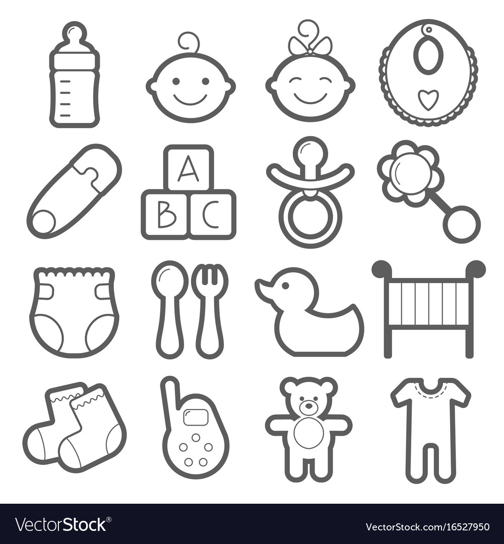 Baby icons set isolated on white background vector image