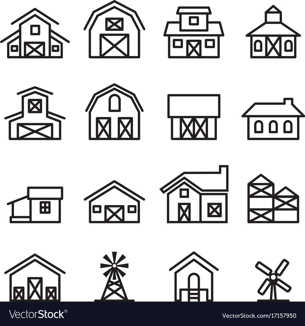 Barn farm building icon in thin line style vector image