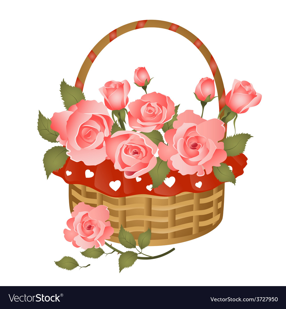Basket with bunch of roses