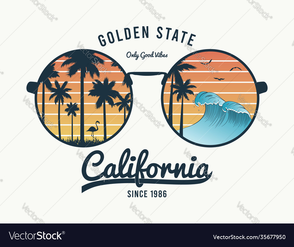 California glasses t-shirt with palm trees