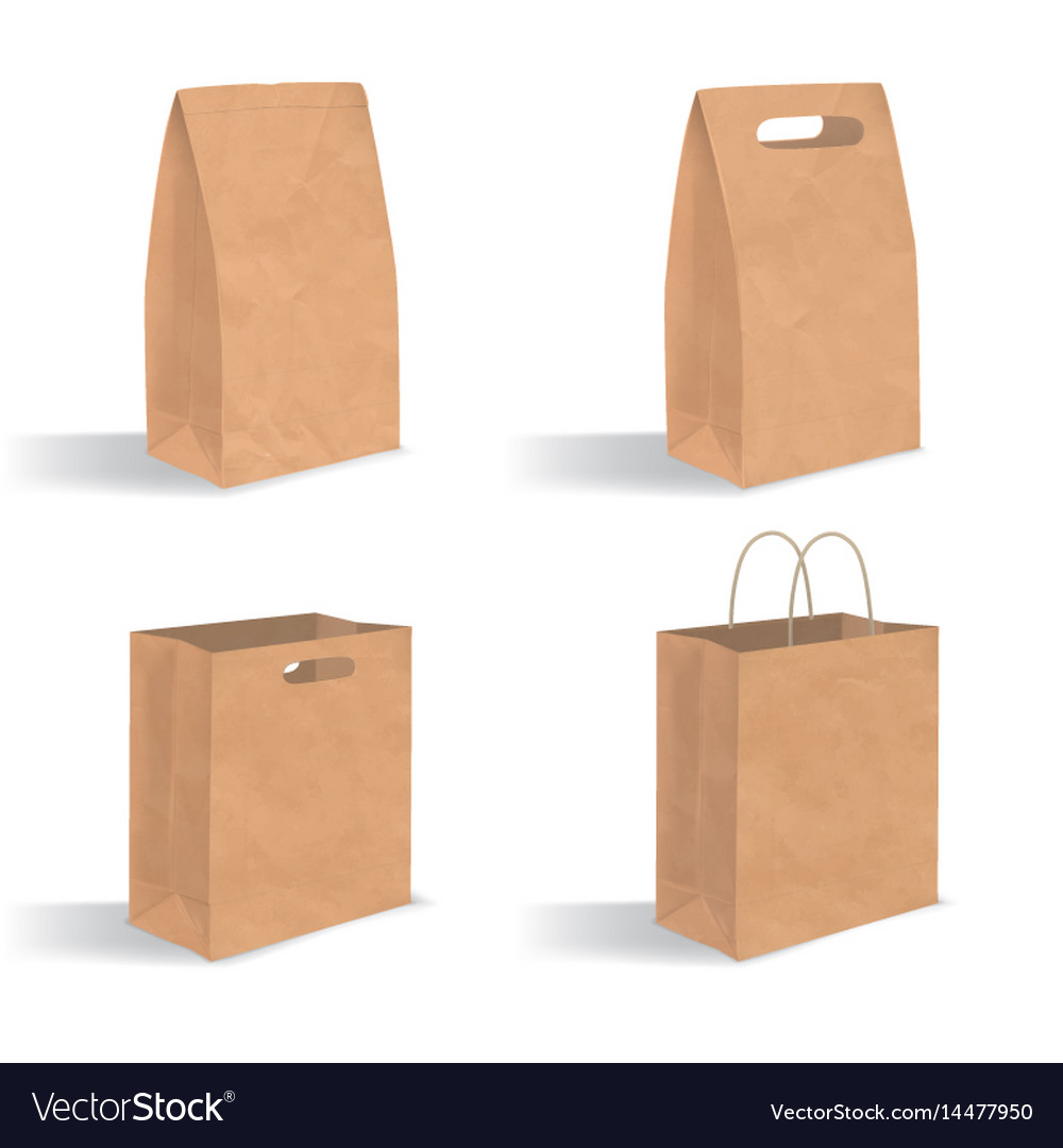 Brown Paper Bag With Handles Vector Image