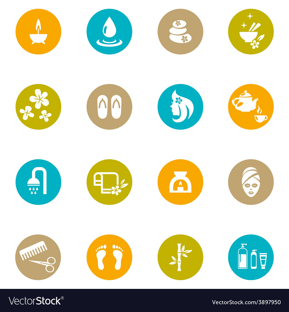 Colored Spa and Zen Icons on White