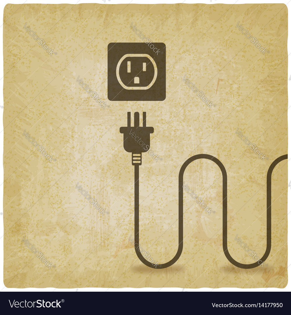 Electric Wire With Plug Near Outlet Old Background Wiring A Vector Image