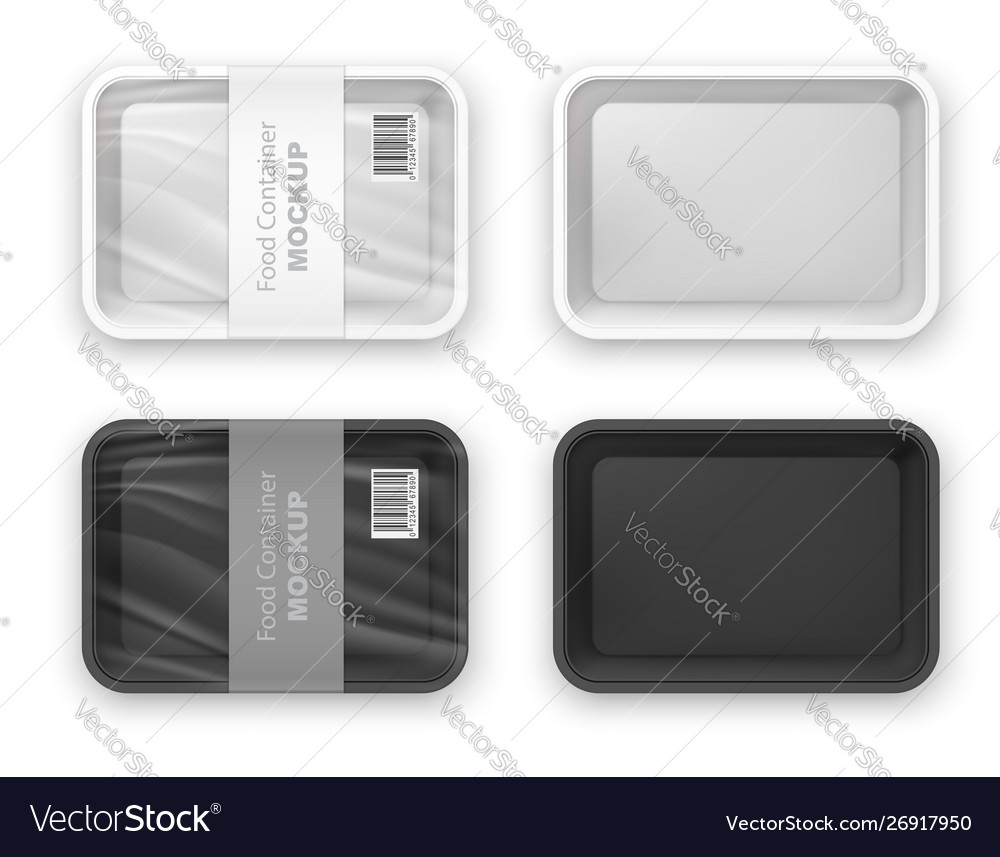 Empty plastic fast food tray container mockup