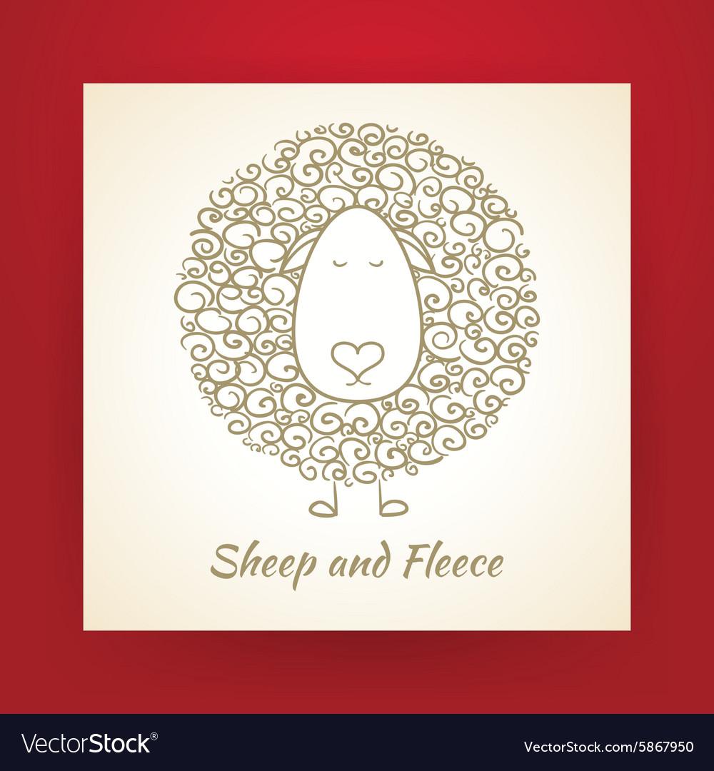 Hand Drawn Gold Sheep and Fleece