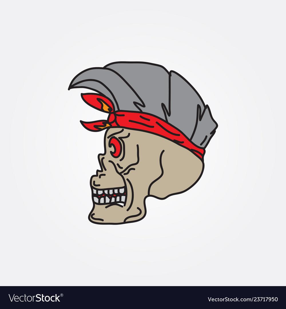 Human skull hand drawing