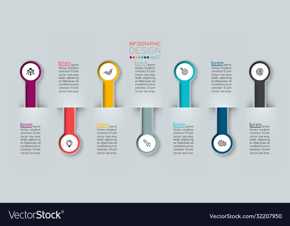 Infographic 3d long circle label infograph
