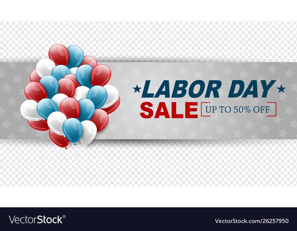 Labor day sale banner transparent background