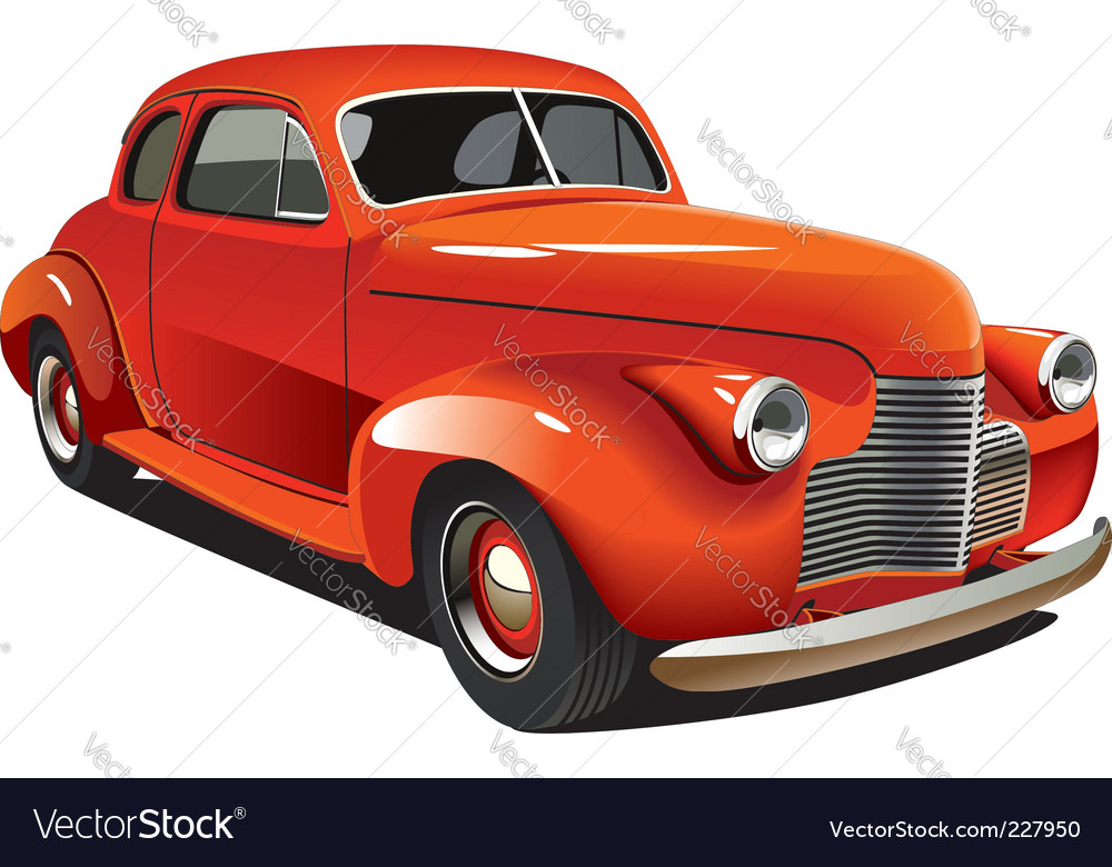 Old-fashioned hot rod Royalty Free Vector Image