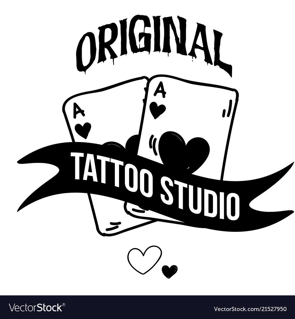 Original tattoo studio ribbon card background vect