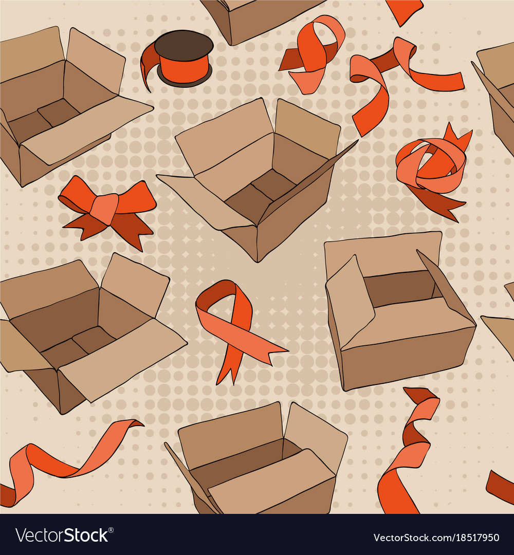 Seamless pattern with vintage ribbons and boxes