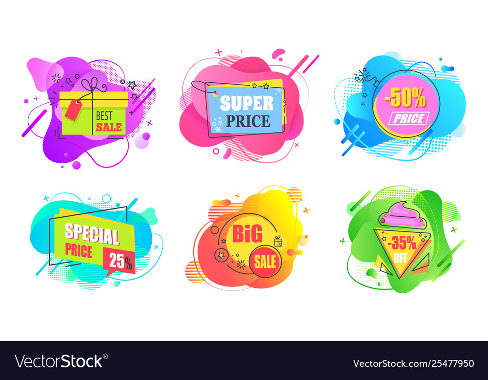 Set sale labels abstract liquid shapes isolated