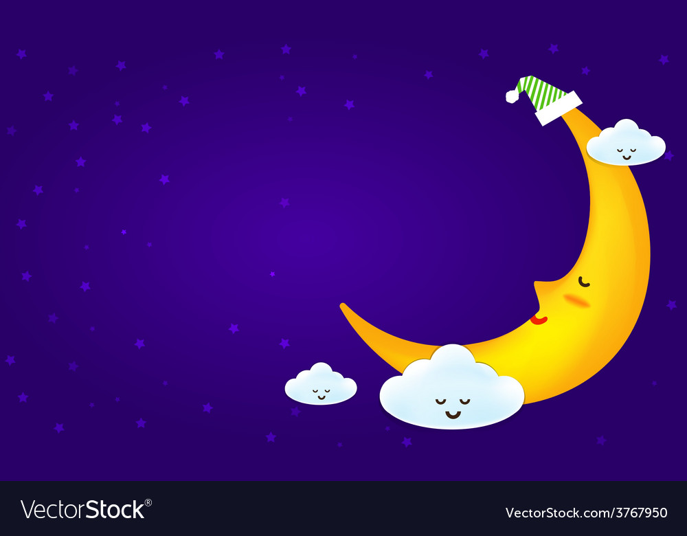 Sleeping moon and clound on the star night