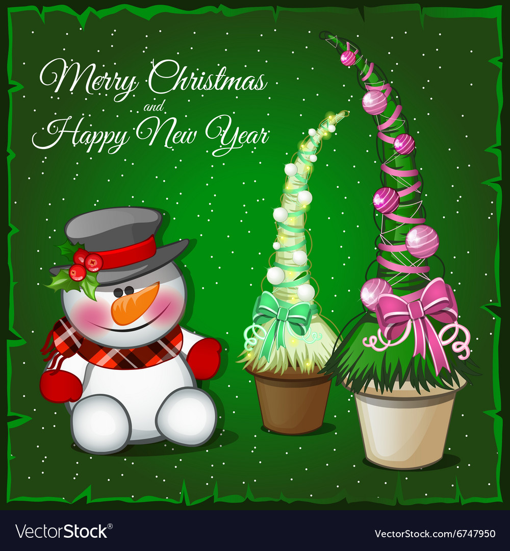 Snowman and associated spruce green vector image