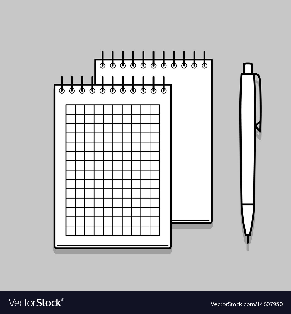 Two Spiral Notebook And White Ballpoint Pen Vector Image Diagram