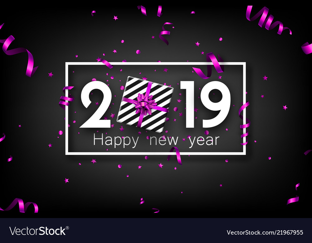 black 2019 happy new year card with purple top vector image