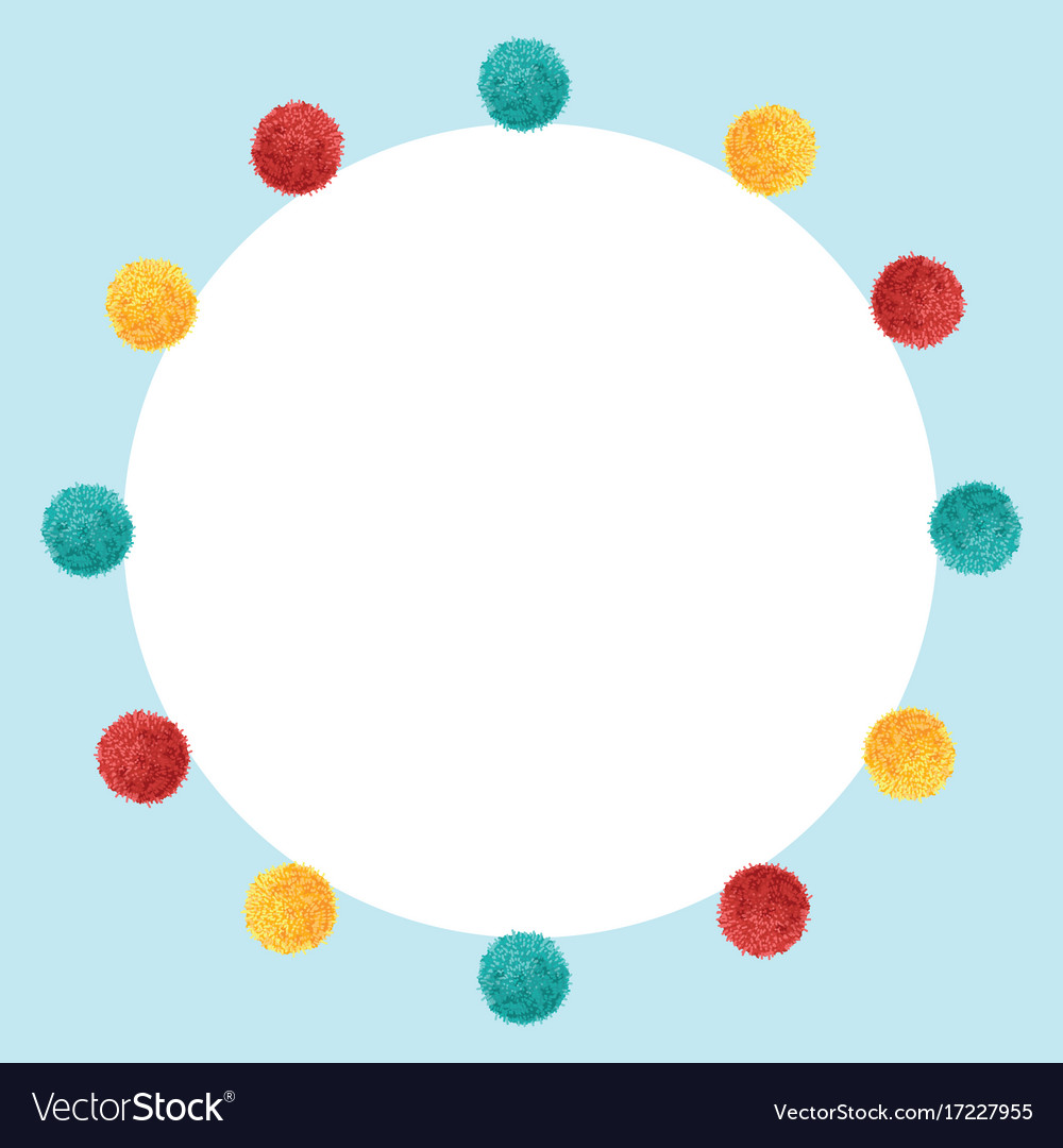Blue frame vibrant birthday party pom poms Vector Image