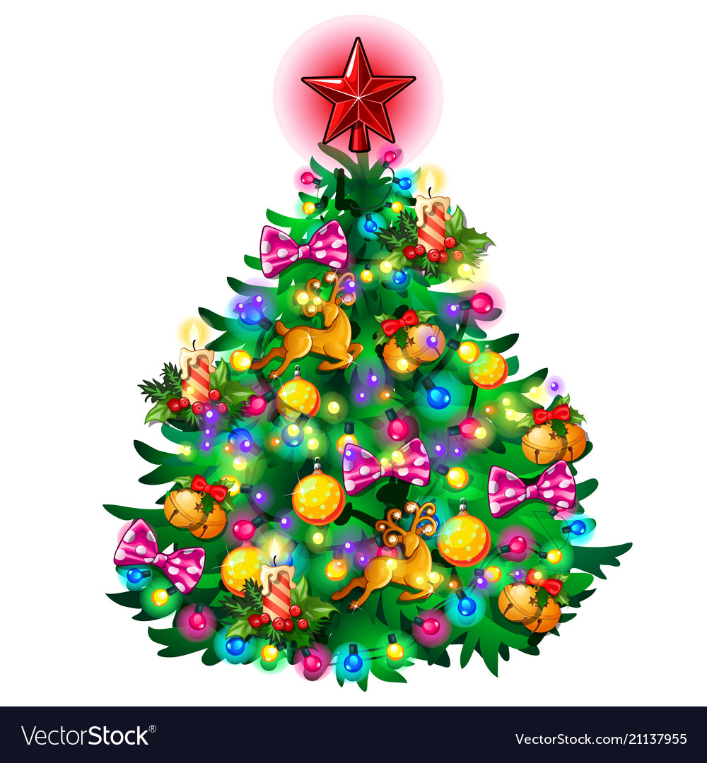 Christmas tree with colorful balls star toys and