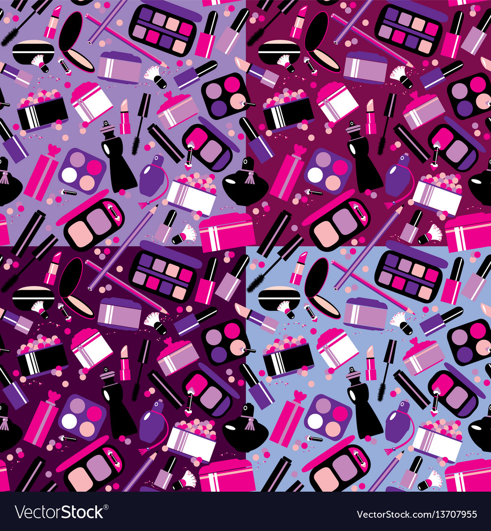 Cosmetics and makeup seamless pattern elements