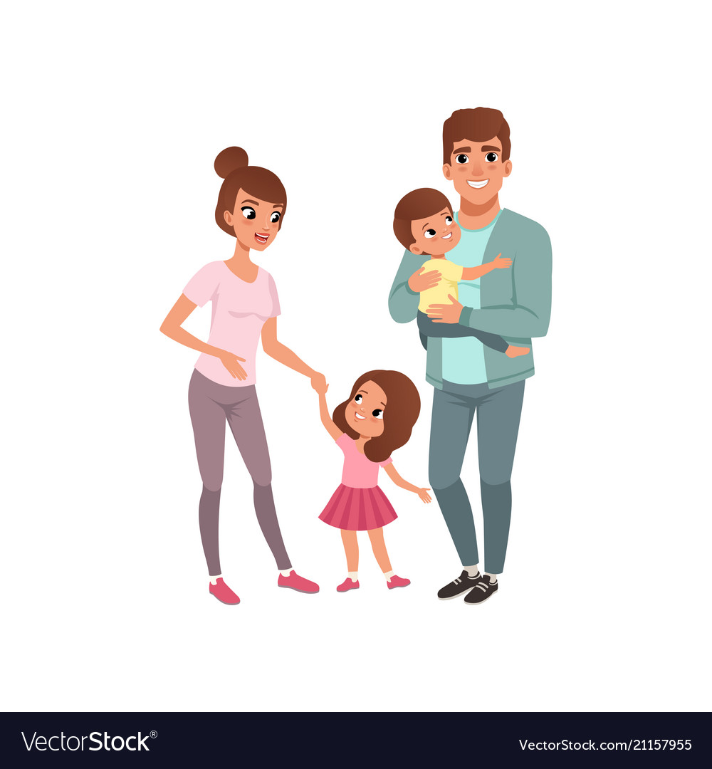 Family couple with two kids parents with their