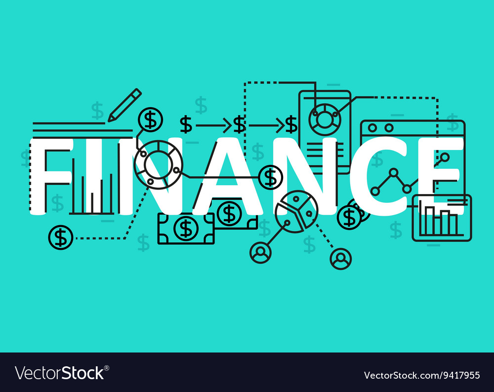 Finance concept flat line design with icons and